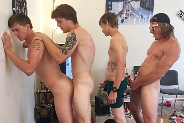 Hot college dudes Tom, Damion and Troy gangbang bareback and creampie Tyler in Smoke Out & Bro Out at Fraternityx