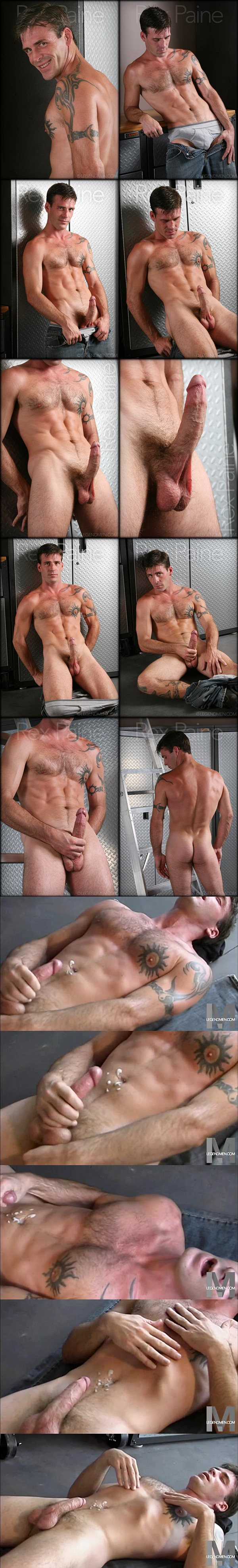 Handsome ripped stud Rex Paine strokes a sticky load out of his big hard cock at Legendmen