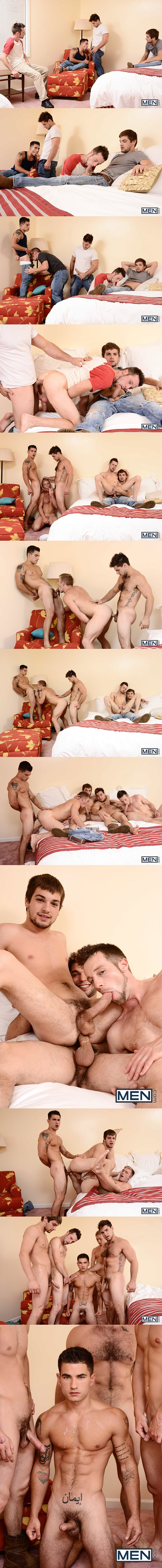 Five hot young men Aspen, Johnny Rapid, Kurt Wild, Scott Riley and Vadim Black have an orgy in Son Of A Preacher Man Part 3 at Jizzorgy 02