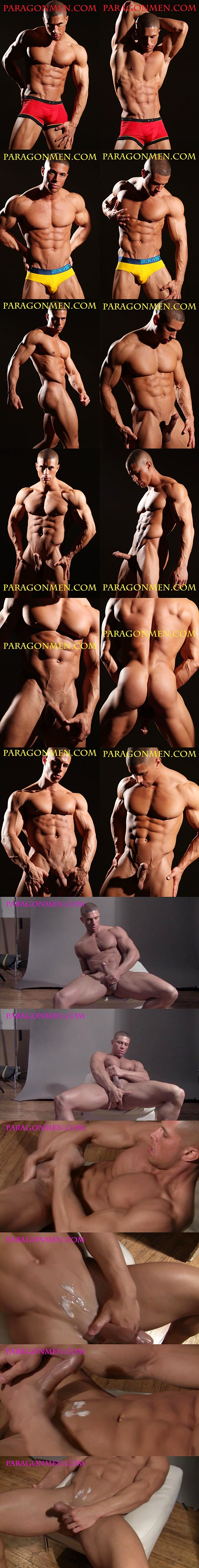 Max (aka Sean Costin at Gayhoopla) fingers his tight ass until he shoots his sticky loads at Paragonmen 02