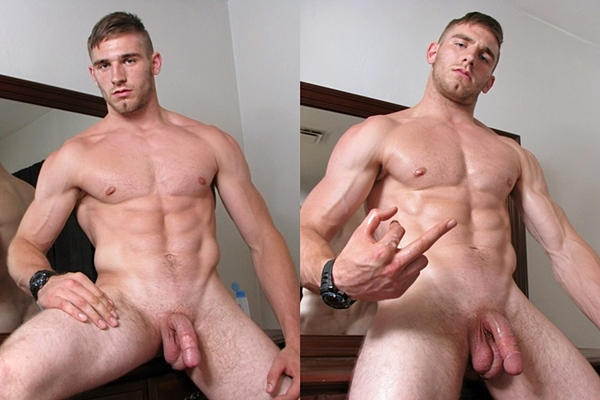 Super handsome muscle jock Elijah Knight shoots two sticky loads at Straightnakedthugs