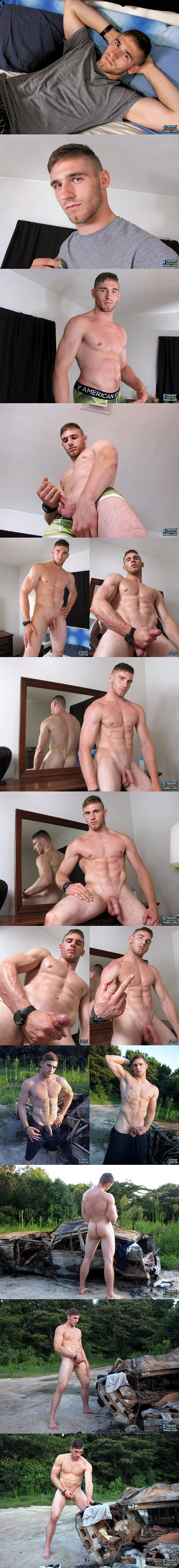 Super handsome muscle jock Elijah Knight shoots two sticky loads at Straightnakedthugs 02