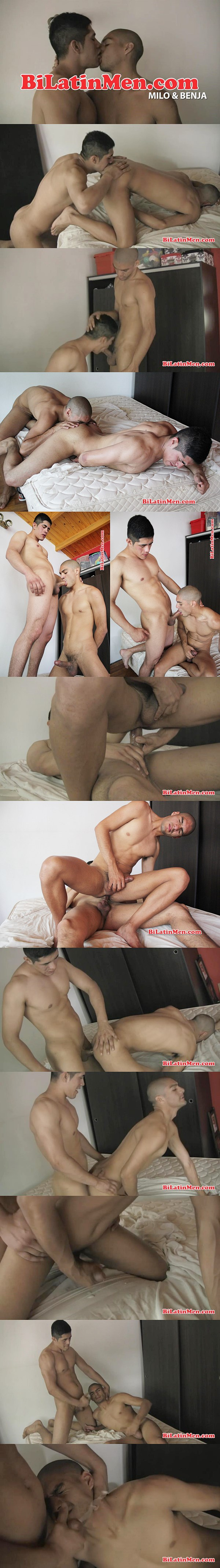 Muscle jock Milo fucks a creamy load out of big-dicked Benja at Bilatinmen