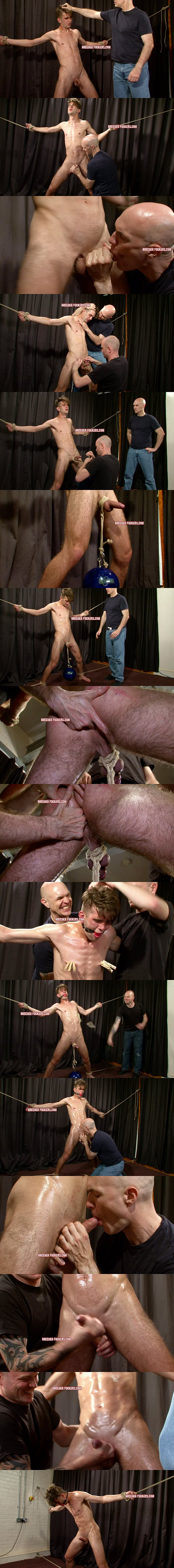British straight jock Ross gets wanked, sucked, cbt, ass fingered, nipples pegged, gagged and jerked off at Breederfuckers 02