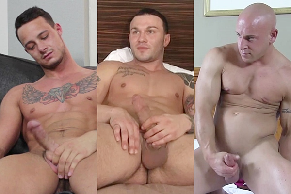 Hot NYC male strippers Luke Tanner, Tony and Tyson Riggs jerk off at Buffboyzztv