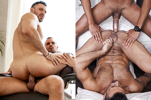 Damien Crosse and Caio Veyron fuck hot macho hunk Flex's muscle butt
