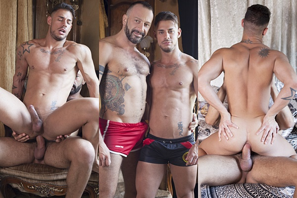 Hot muscle daddy Alberto Esposito barebacks handsome Sergyo at Fuckermate