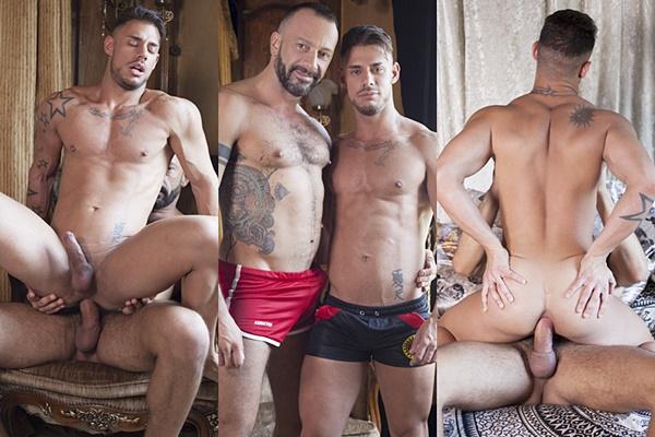 Hot muscle daddy Alberto Esposito barebacks handsome Sergyo at Fuckermate
