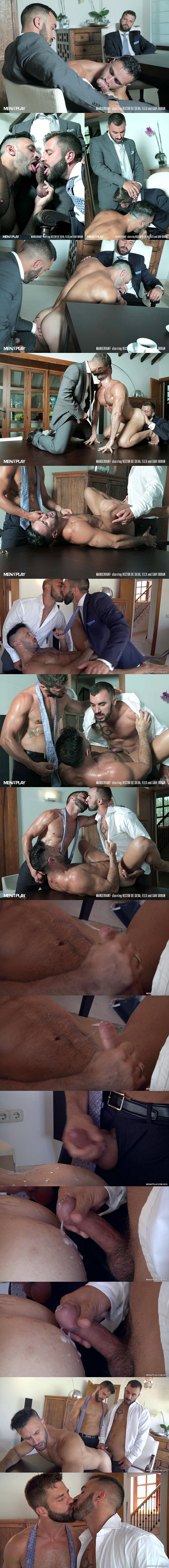 Xavi Duran and Hector De Silva tag team muscle bottom Flex in Manservant at Menatplay 02