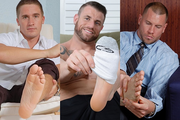 Handsome straight guys Carson, Hammond and Skinner at Myfriendsfeet