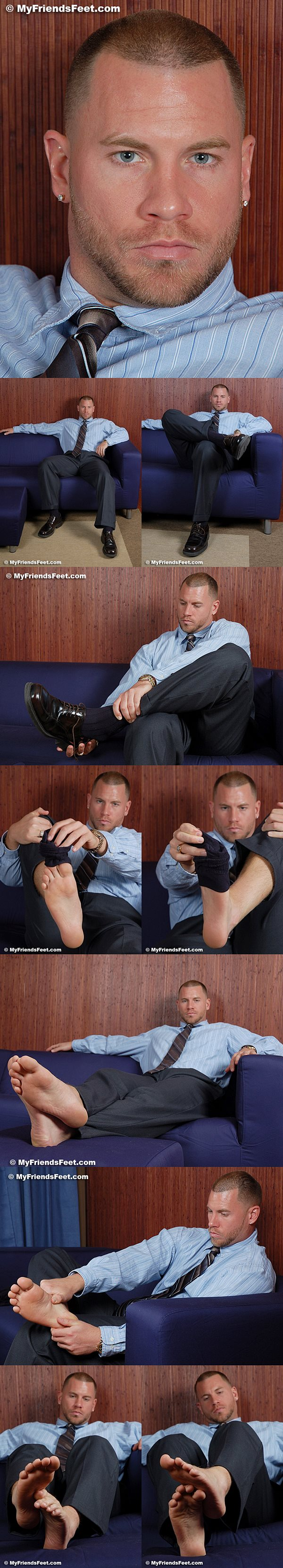 Rugged handsome massage therapist Skinner's size 13s in white socks and bare feet at Myfriendsfeet