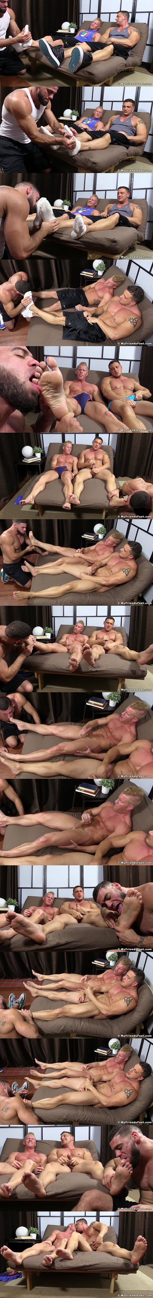 Ricky Larkin Worships muscle hunks Johnny V and Joey D's big feet until they blow their hot cum at Myfriendsfeet 02