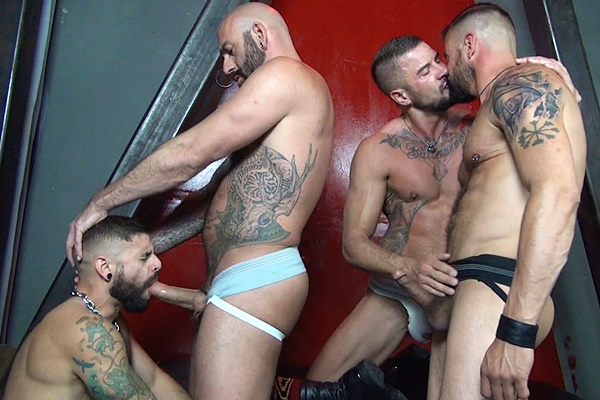 Drew Sebastian & Derrick Hanson bareback Jon Shield & Dolf Dietrich in Rough Gang Bang at Rawfuckclub