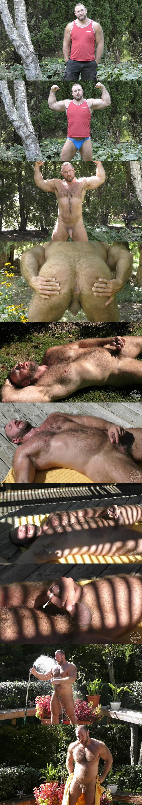 Hot daddy bear Zac Masterson shoots his sticky loads under sunshine in Muscle Bear Outdoors at Theguysite