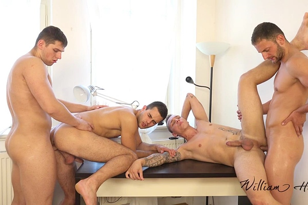 Aron Ros, Alan Carly, Charli Lomoz and Marion Anel have a bareback orgy in Wank Party 2015 #07 Part 2 RAW at Williamhiggins