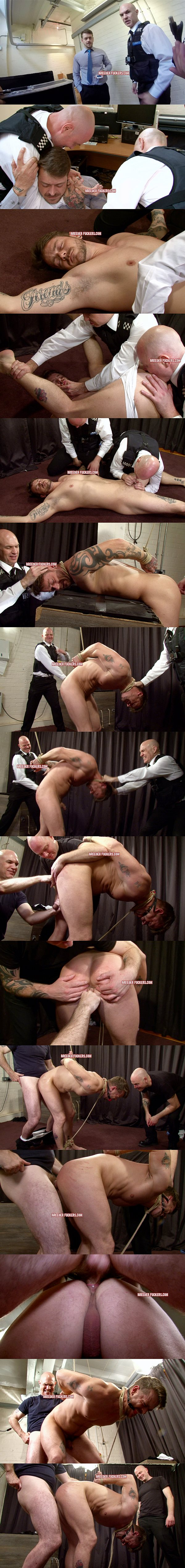 Hetero businessman Kevin stripped, rimmed, tied, ass flogged, fingered and fucked at Breederfuckers 02