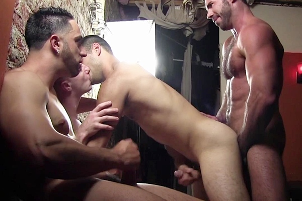 Andrew Fitch, Kyle DeAnthony, Billy Santoro and Doug Acre have a orgy in Nude Party Part 1 at Buffboyzztv