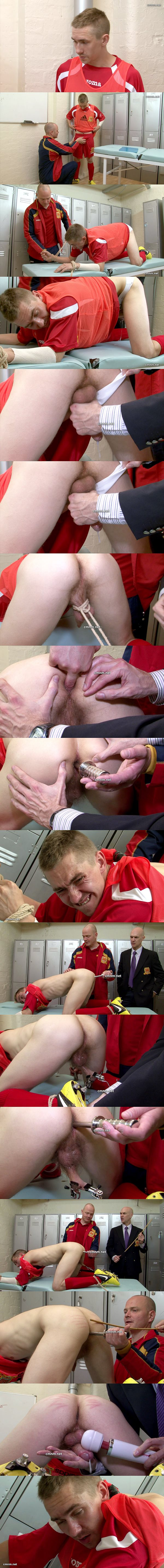 Hetero footballer Russell Coulter tied, gagged, fingered, dildo-fucked, flogged and jerked off at Cmnm 02