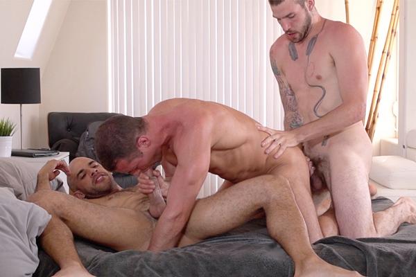 Austin Wilde barebacks Buck Richards and Brendan Phillips at Guysinsweatpants