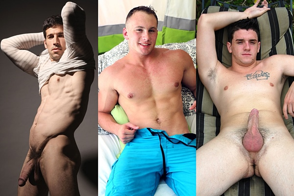 Hot muscle jocks Leo Giamani, Brad Bison and Rico Swave shoot their hot loads