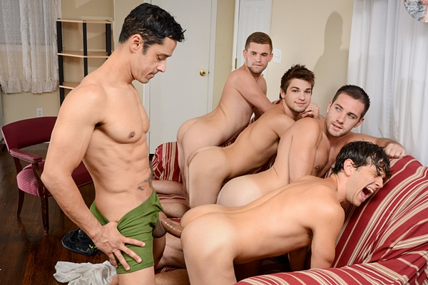 Rafael Alencar Fucks Dylan Knight, Jack Radley, Johnny Rapid and Zac Stevens in My Neighbor's Son Part 4 at Jizzorgy