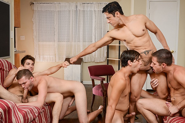 A Sneak Peek of Rafael Alencar fucking Dylan Knight, Jack Radley, Johnny Rapid & Zac Stevens at Jizzorgy