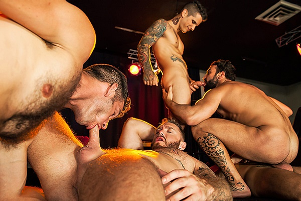 A Sneak Peek of Abraham Al Malek, Damien Crosse, Dominique Hansson, Jimmy Fanz & Pierre Fitch fucking Each Other at Jizzorgy