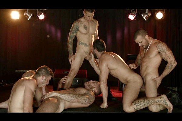 A Sneak Peek of Abraham Al Malek, Damien Crosse, Dominique Hansson, Jimmy Fanz & Pierre Fitch fucking Each Other at Jizzorgy 01