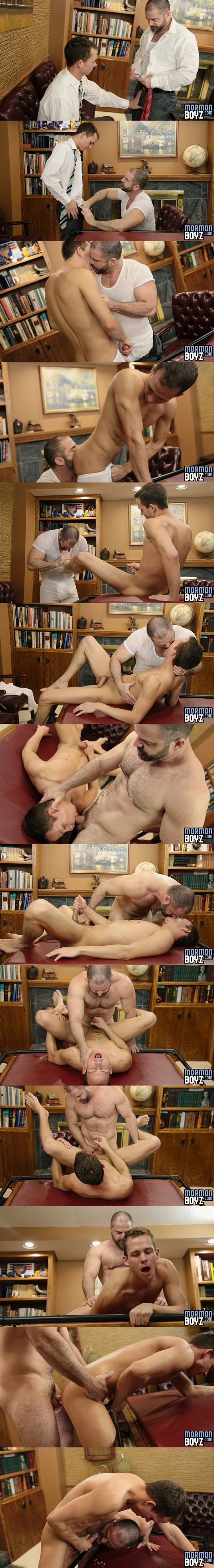 Macho daddy Bishop Angus barebacks cute missionary Elder Lindsay in Inspection at Mormonboyz 02
