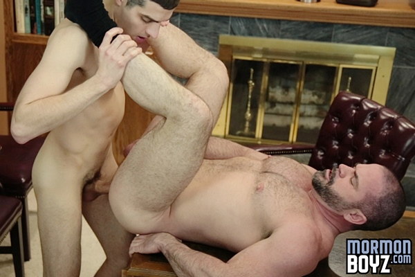 Elder Ricci fucks the cum out of hot daddy Bishop Angus before he creampies Angus in Inspection at Mormonboyz