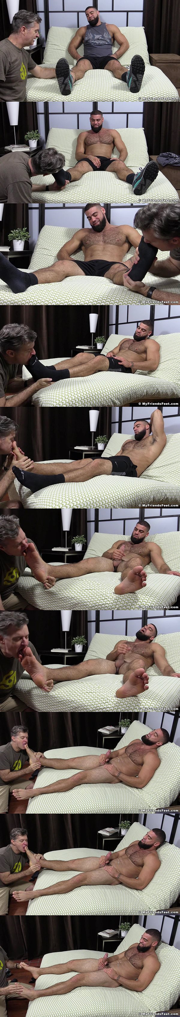 Ricky Larkin shoots his load while getting foot worshiped at Myfriendsfeet
