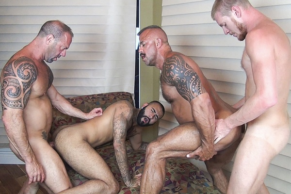 Vic Rocco, Jon Galt, Rikk York & Billy Warren bareback each other in Dirty Fuck Fest at Rawfuckclub