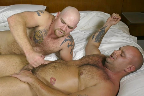 Junior sucks and jerks hot muscle bear Chris in Football Player BJ at Theguysite