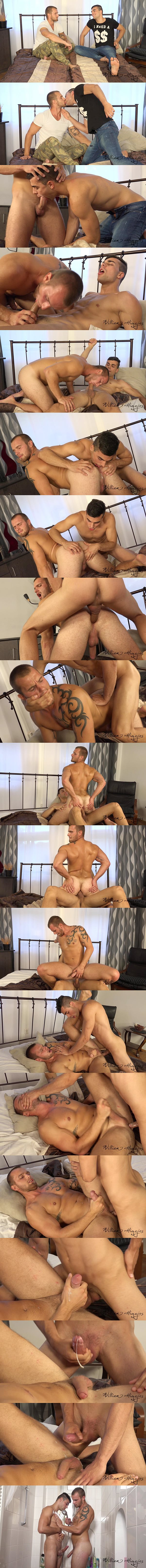 Petr Zuska barebacks Alex Stan's bubble ass until he fucks the cum out of Alex at Williamhiggins 02