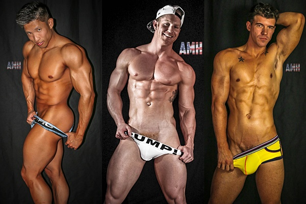 Asian muscle jock Jessie Lee and hot hung newcomer JJ Knight fuck Johnny V at Americanmusclehunks