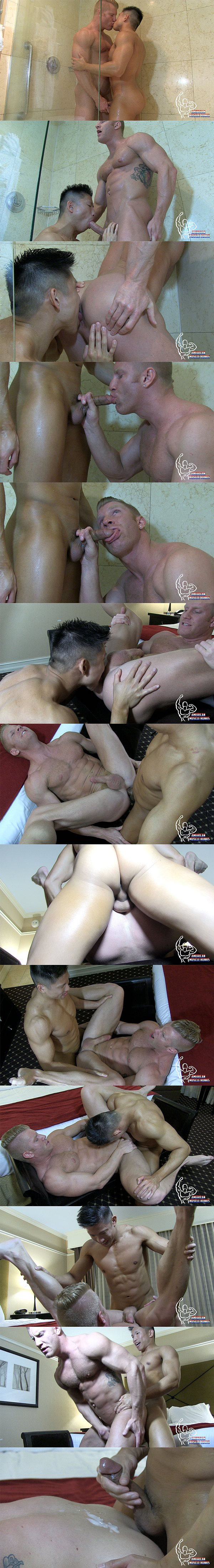 Asian muscle jock Jessie Lee pounds Johnny V's bubble ass at Americanmusclehunks