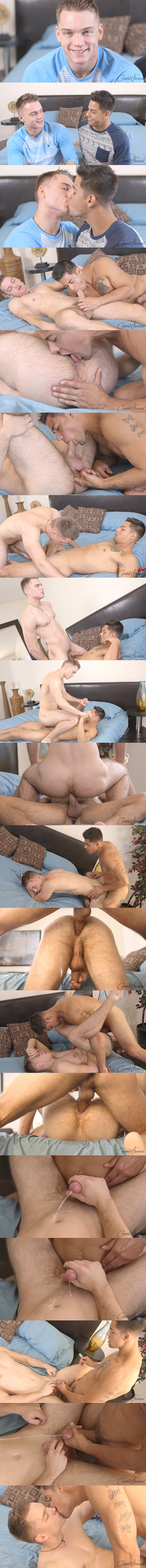 Marc barebacks hot blond jock Jasper's tight virgin ass until he fucks a big load out of Jasper at Corbinfisher 02