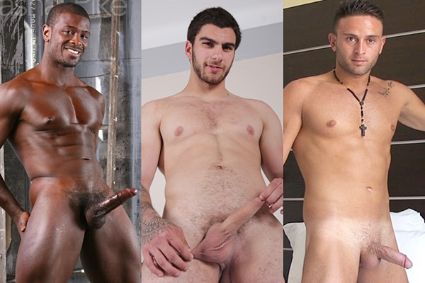 Hot muscled studs Dashal Pike, Maxim Moira and Nicola shoot their juicy loads