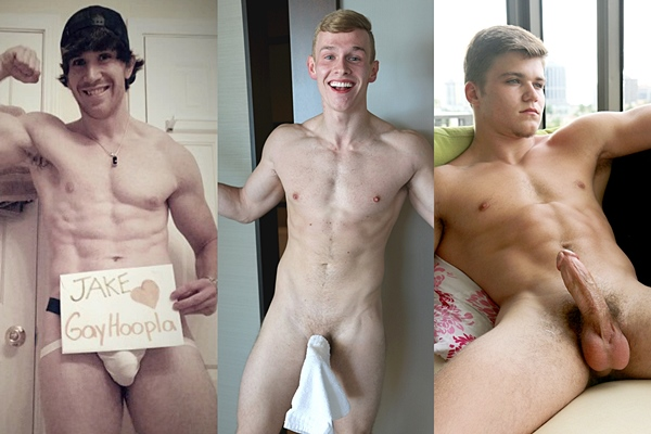 Hot muscle jocks Jake Ross, Kane Bryant and Kyle Fallon jerk off at Gayhoopla
