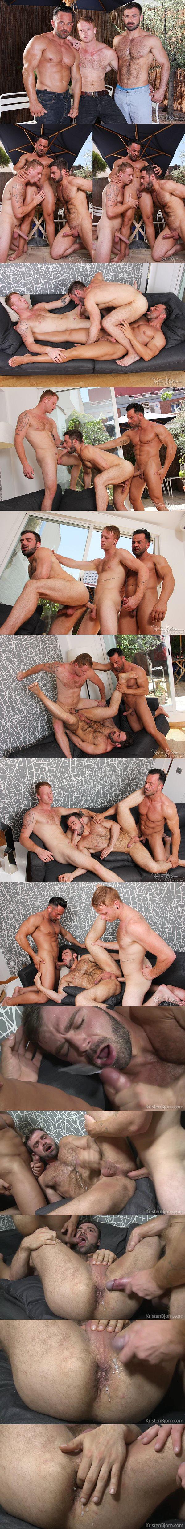 Tom Vojak and Alex Brando bareback hairy hunk Jose Quevedo in Skins Posing Trunks at Kristenbjorn 02