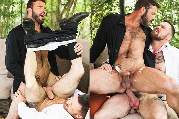 Xavier Jacobs and Sergeant Miles bareback flip-fuck until Sergeant breeds Xavier at Lucasentertainment