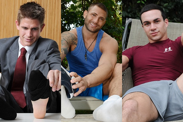 Hot straight guys Andy, Mike Buffalari and Hugo show off their big sexy feet at Myfriendsfeet