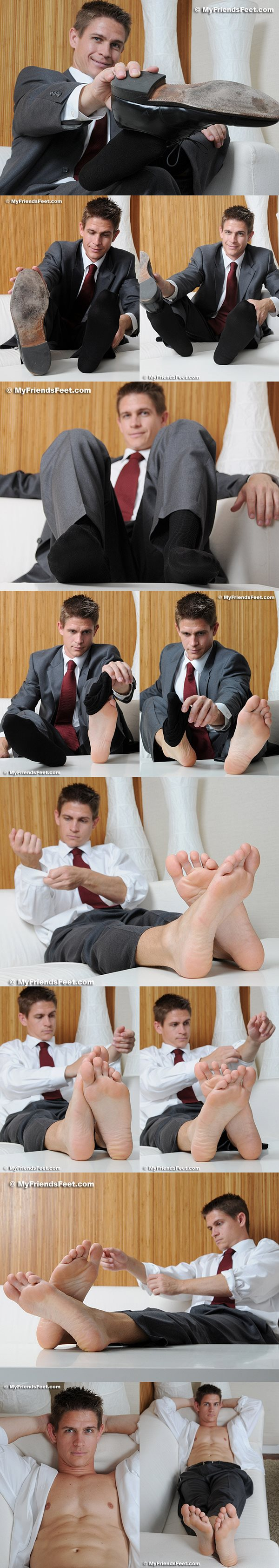 Handsome Andy's size 12s in dress socks and bare at Myfriendsfeet