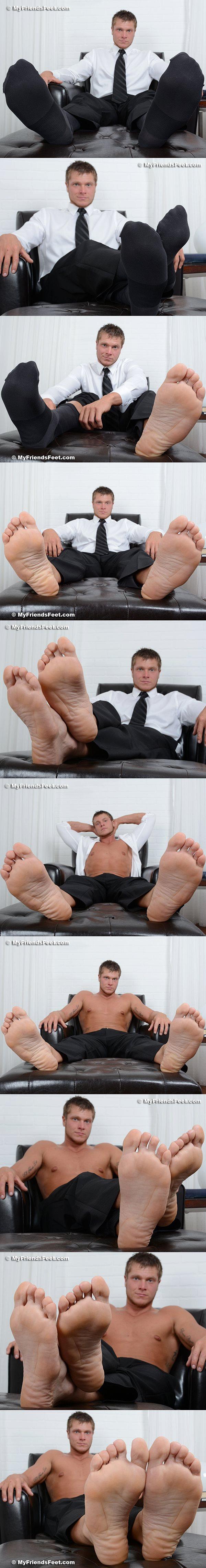 Hot blond muscle jock Powers' size 11 bare feet and dress socks at Myfriendsfeet