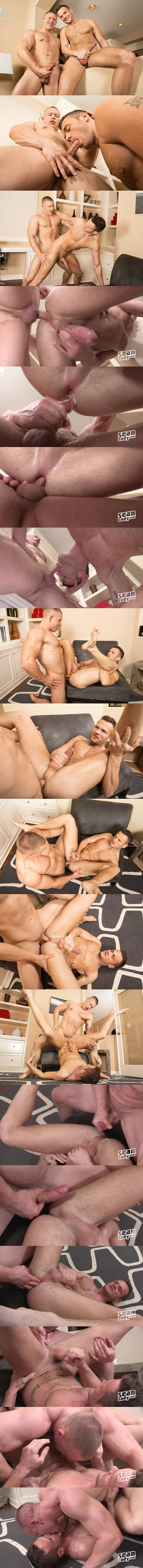Muscle jock Tate is on top for the first time and barebacks big-dicked Sean at Seancody 02