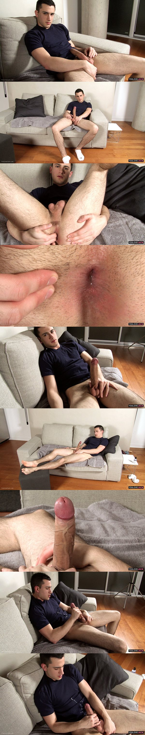Handsome straight jock Mick Roberts strokes his big, long dick and fingers his tight ass at Youlovejack