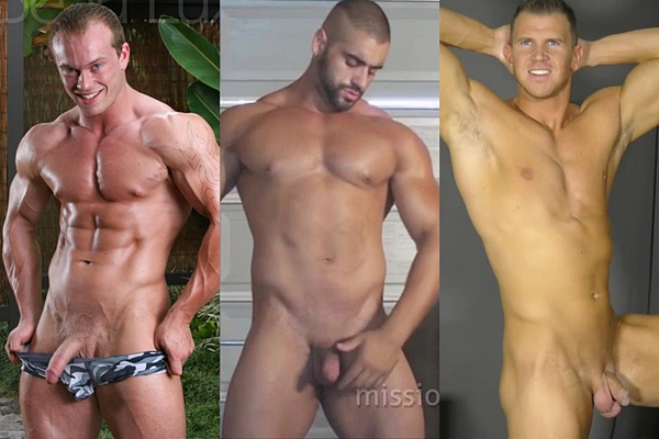 Handsome straight muscle hunks Beau Lux, Corleone and Justin shoot their hot creamy loads