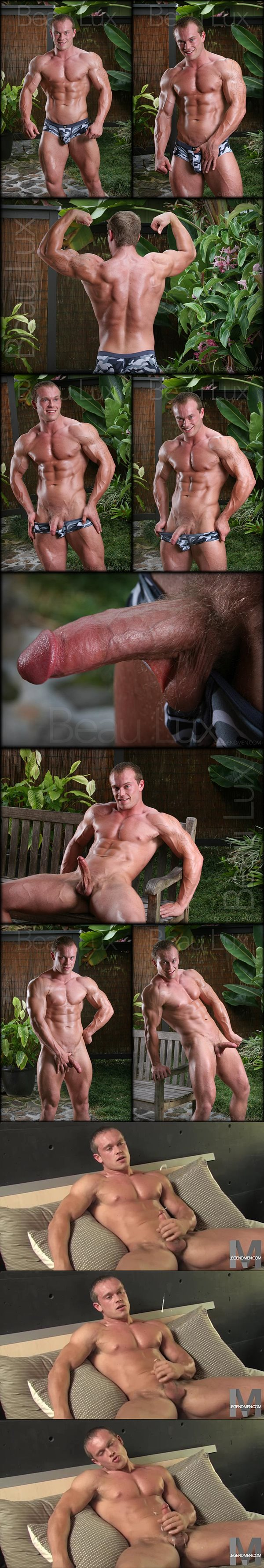 Hot bodybuilder Beau Lux shows off his gorgeous ripped body before wanking off at Legendmen