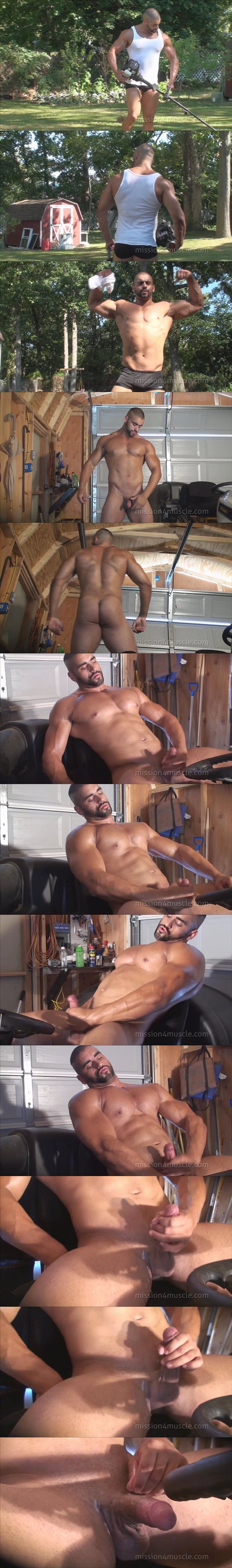Rugged handsome straight guy Corleone flexes his hard muscles and jerks off at Mission4muscle