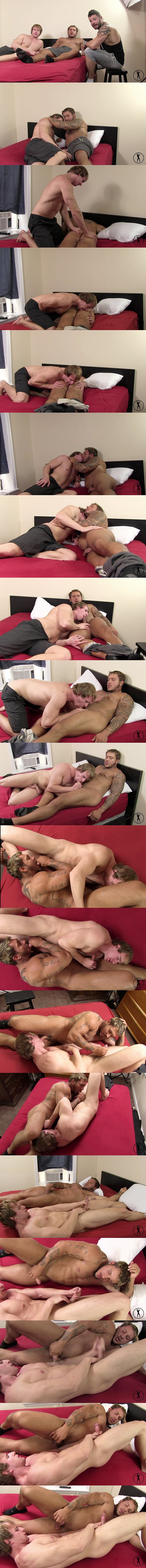 Hot NYC strippers Cameron Foster and Carmine DeAngelo suck each other's dicks until they cum on each other at Buffboyzztv 02